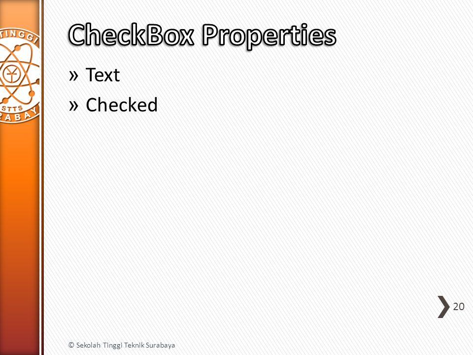 » Text » Checked 20 © Sekolah Tinggi Teknik Surabaya