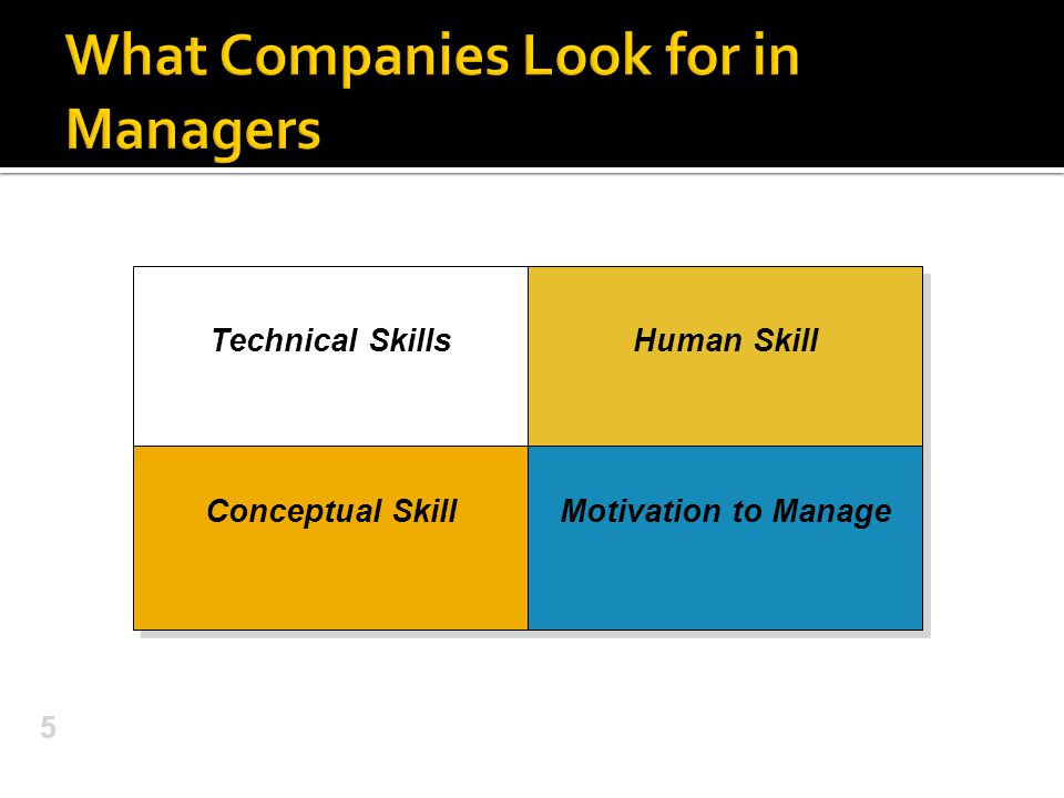 5 Technical Skills Human Skill Conceptual Skill Conceptual Skill Motivation to Manage