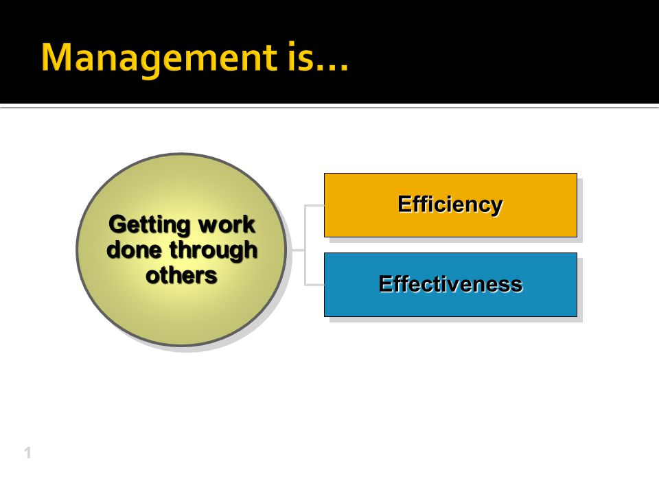 1 EffectivenessEffectiveness EfficiencyEfficiency Getting work done through others