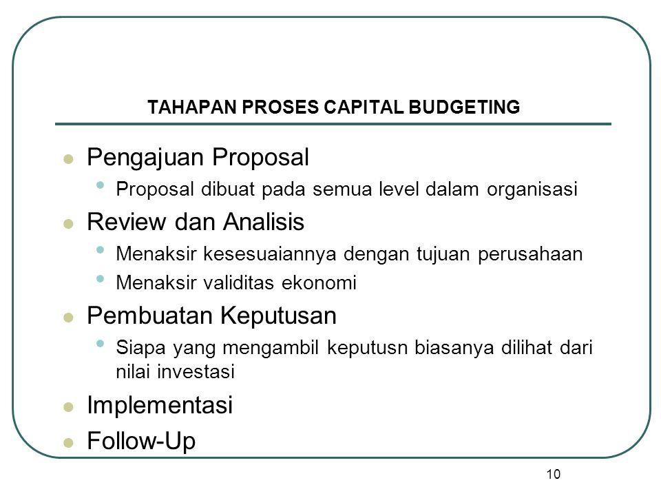 10 TAHAPAN PROSES CAPITAL BUDGETING Pengajuan Proposal Proposal dibuat pada semua level dalam organisasi Review dan Analisis Menaksir kesesuaiannya dengan tujuan perusahaan Menaksir validitas ekonomi Pembuatan Keputusan Siapa yang mengambil keputusn biasanya dilihat dari nilai investasi Implementasi Follow-Up