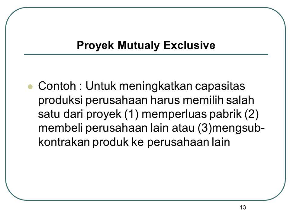 13 Proyek Mutualy Exclusive Contoh : Untuk meningkatkan capasitas produksi perusahaan harus memilih salah satu dari proyek (1) memperluas pabrik (2) membeli perusahaan lain atau (3)mengsub- kontrakan produk ke perusahaan lain