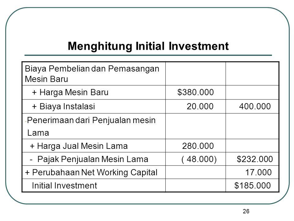 26 Menghitung Initial Investment Biaya Pembelian dan Pemasangan Mesin Baru + Harga Mesin Baru$380.000 + Biaya Instalasi 20.000 400.000 - Penerimaan dari Penjualan mesin Lama + Harga Jual Mesin Lama 280.000 - Pajak Penjualan Mesin Lama ( 48.000) $232.000 + Perubahaan Net Working Capital 17.000 Initial Investment$185.000