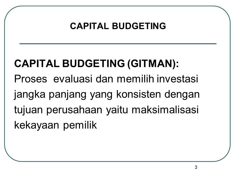 3 CAPITAL BUDGETING CAPITAL BUDGETING (GITMAN): Proses evaluasi dan memilih investasi jangka panjang yang konsisten dengan tujuan perusahaan yaitu maksimalisasi kekayaan pemilik