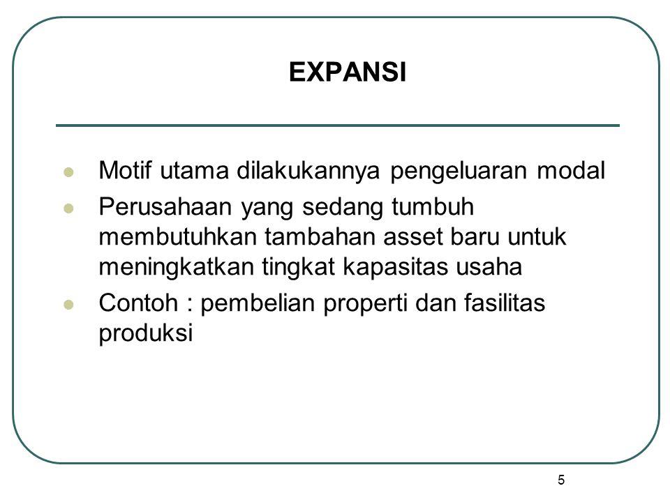 5 EXPANSI Motif utama dilakukannya pengeluaran modal Perusahaan yang sedang tumbuh membutuhkan tambahan asset baru untuk meningkatkan tingkat kapasitas usaha Contoh : pembelian properti dan fasilitas produksi