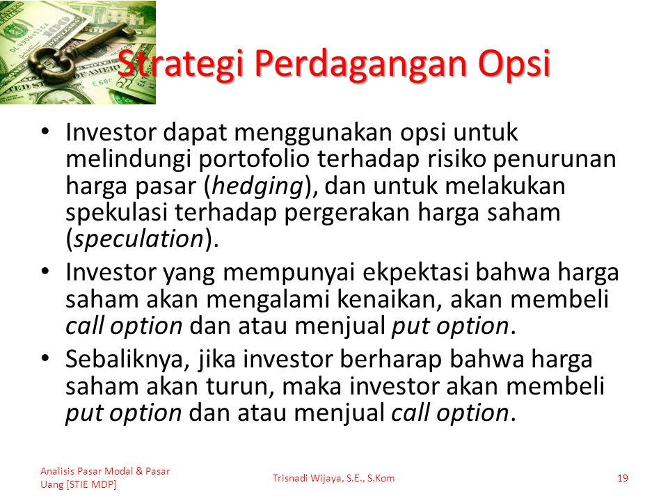 Strategi Perdagangan Opsi Investor dapat menggunakan opsi untuk melindungi portofolio terhadap risiko penurunan harga pasar (hedging), dan untuk melak