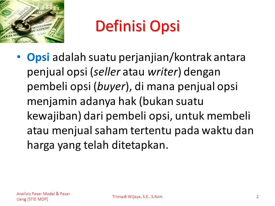 Profil Keuntungan (Kerugian) Penjual Call Option Analisis Pasar Modal & Pasar Uang [STIE MDP] Trisnadi Wijaya, S.E., S.Kom13 50 1.050 1.000 0 Keuntungan Kerugian Harga Saham