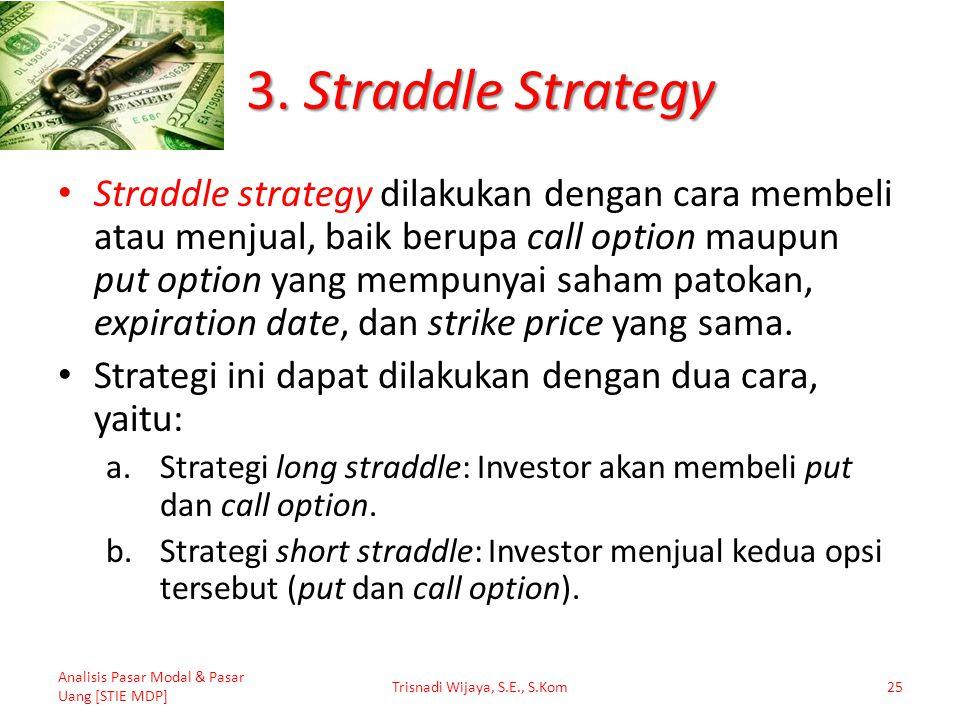 3. Straddle Strategy Straddle strategy dilakukan dengan cara membeli atau menjual, baik berupa call option maupun put option yang mempunyai saham pato