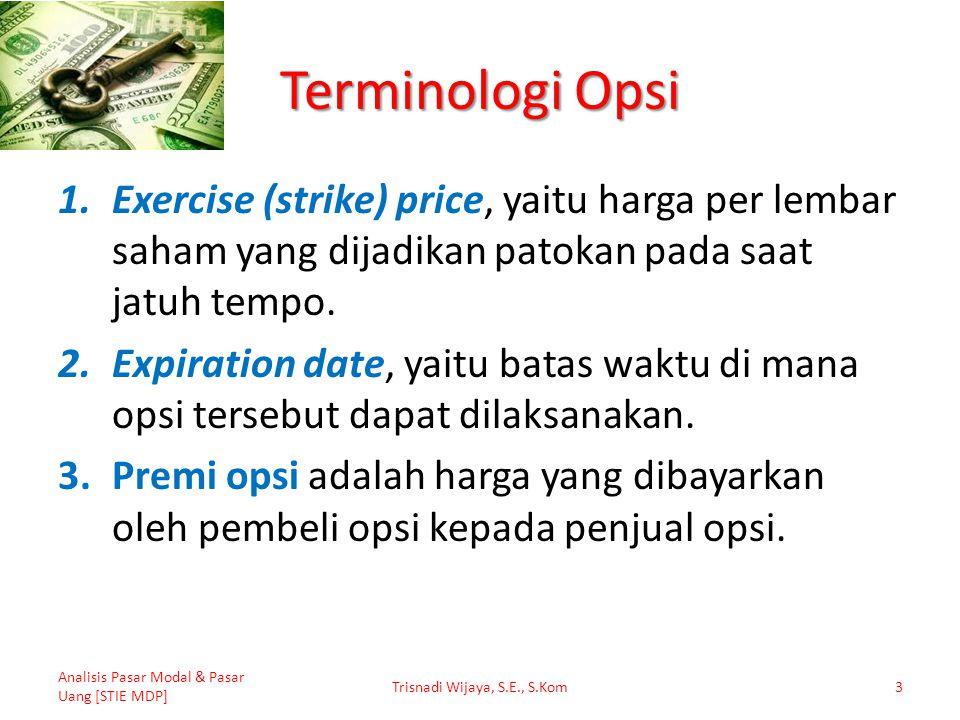 Faktor-Faktor yang Mempengaruhi Harga Opsi 1.Harga saham bersangkutan (P); 2.Strike Price atau Exercise price (E); 3.Sisa waktu jatuh tempo opsi (t); 4.Deviasi standar return saham (σ); 5.Tingkat suku bunga bebas risiko (r); 6.Dividen tunai (D).