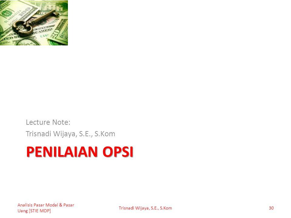 PENILAIAN OPSI Lecture Note: Trisnadi Wijaya, S.E., S.Kom Analisis Pasar Modal & Pasar Uang [STIE MDP] Trisnadi Wijaya, S.E., S.Kom30