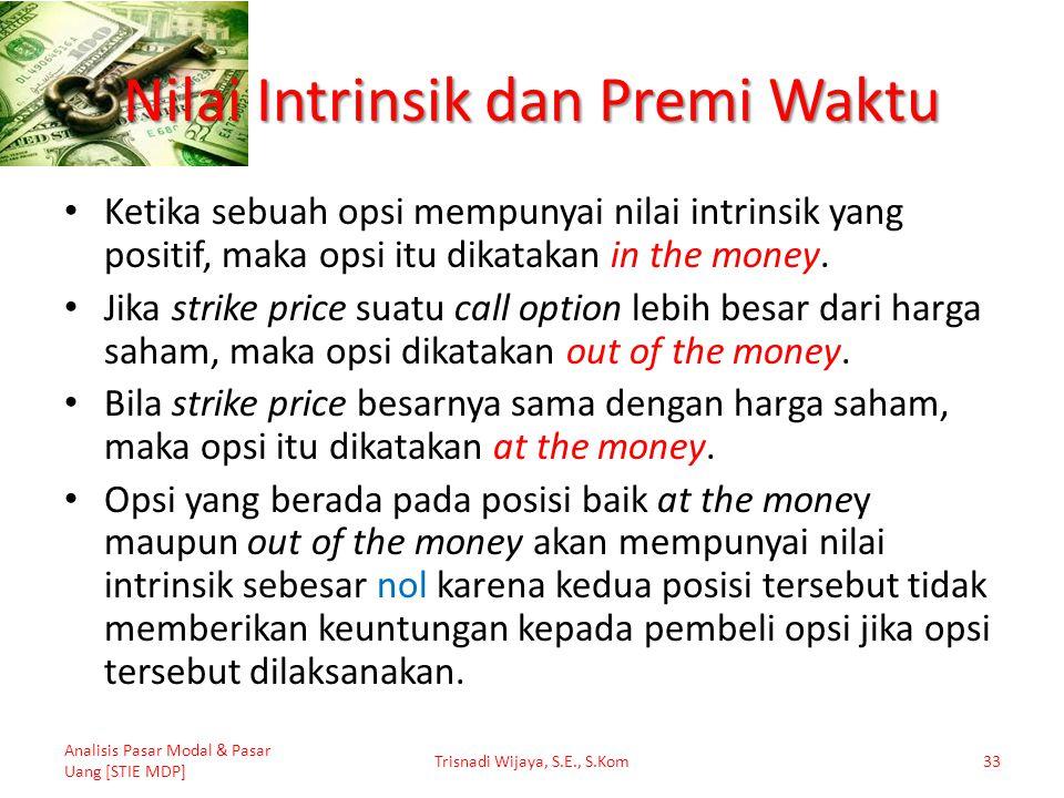 Nilai Intrinsik dan Premi Waktu Ketika sebuah opsi mempunyai nilai intrinsik yang positif, maka opsi itu dikatakan in the money. Jika strike price sua
