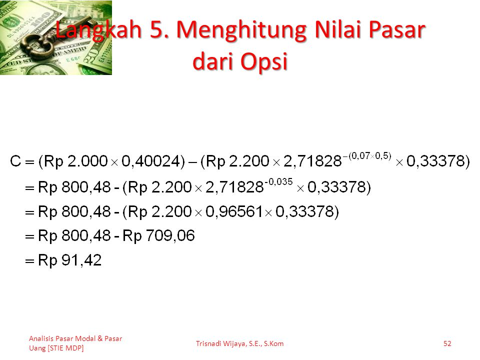 Langkah 5. Menghitung Nilai Pasar dari Opsi Analisis Pasar Modal & Pasar Uang [STIE MDP] Trisnadi Wijaya, S.E., S.Kom52