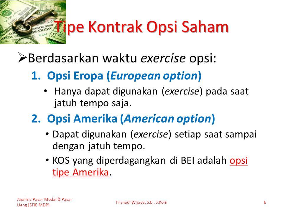 Model Black-Scholes: Contoh Diketahui: Opsi Beli Harga Saham (S)= Rp 2.000,- Exercise Price (X)= Rp 2.200,- Suku bunga bebas risiko (r)= 7% Expiration Date (T)= 6 bulan (0,5 tahun) Deviasi Standar (σ)= 0,25 Analisis Pasar Modal & Pasar Uang [STIE MDP] Trisnadi Wijaya, S.E., S.Kom47