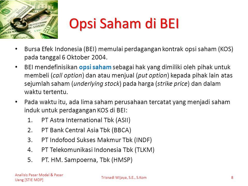 Opsi Saham di BEI Bursa Efek Indonesia (BEI) memulai perdagangan kontrak opsi saham (KOS) pada tanggal 6 Oktober 2004. BEI mendefinisikan opsi saham s