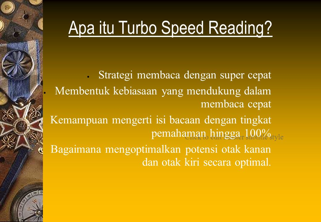 Click to edit Master subtitle style Apa itu Turbo Speed Reading.
