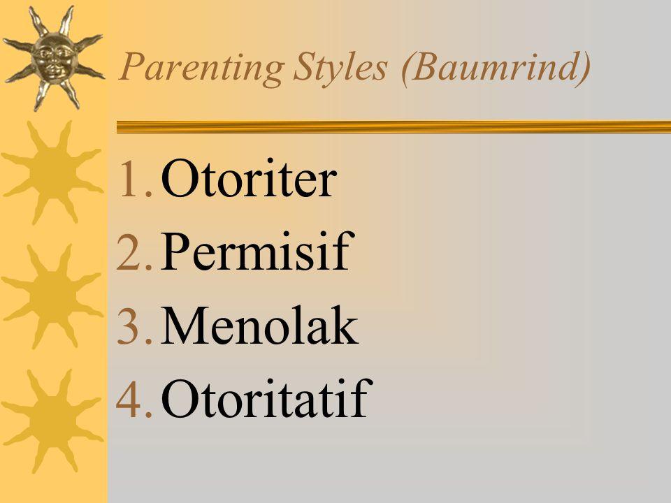 Parenting Styles (Baumrind) 1. Otoriter 2. Permisif 3. Menolak 4. Otoritatif
