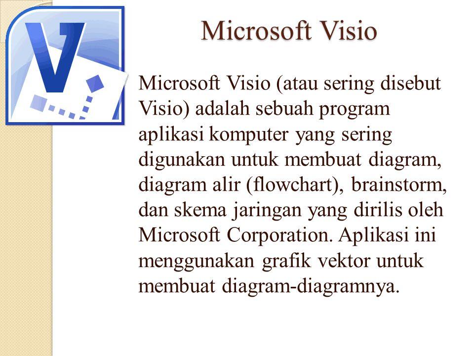 Microsoft Visio Microsoft Visio (atau sering disebut Visio) adalah sebuah program aplikasi komputer yang sering digunakan untuk membuat diagram, diagr