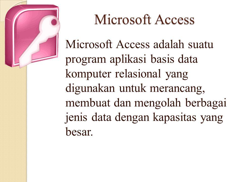 Microsoft Access Microsoft Access adalah suatu program aplikasi basis data komputer relasional yang digunakan untuk merancang, membuat dan mengolah be