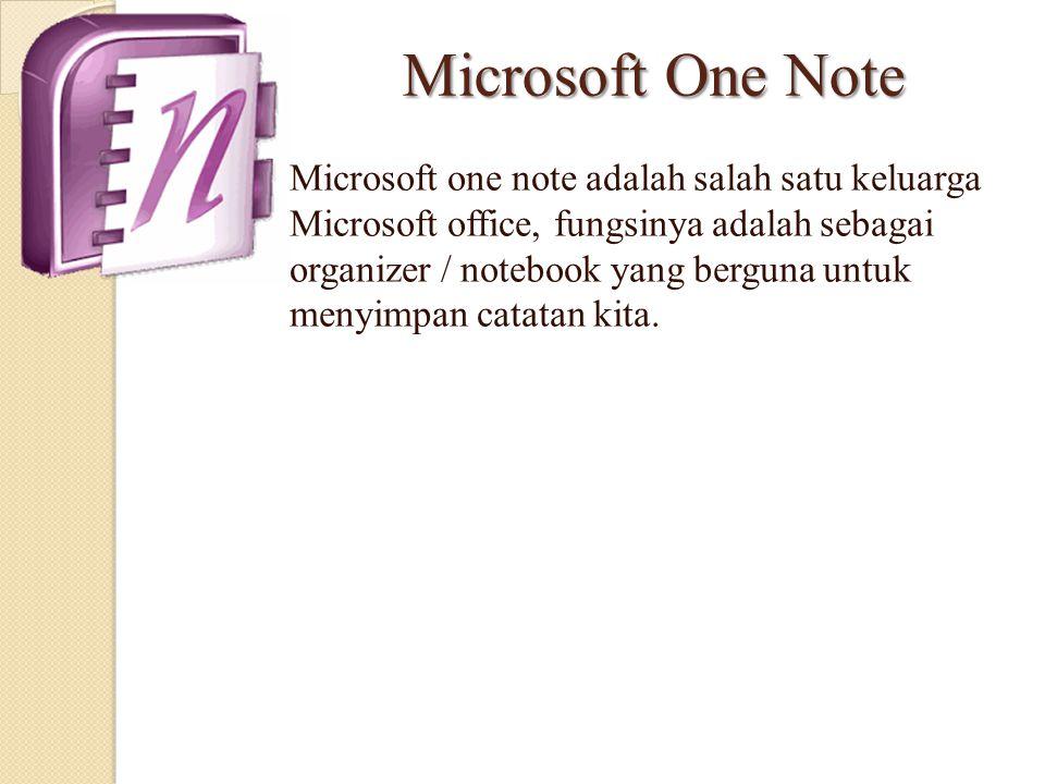Microsoft One Note Microsoft one note adalah salah satu keluarga Microsoft office, fungsinya adalah sebagai organizer / notebook yang berguna untuk me
