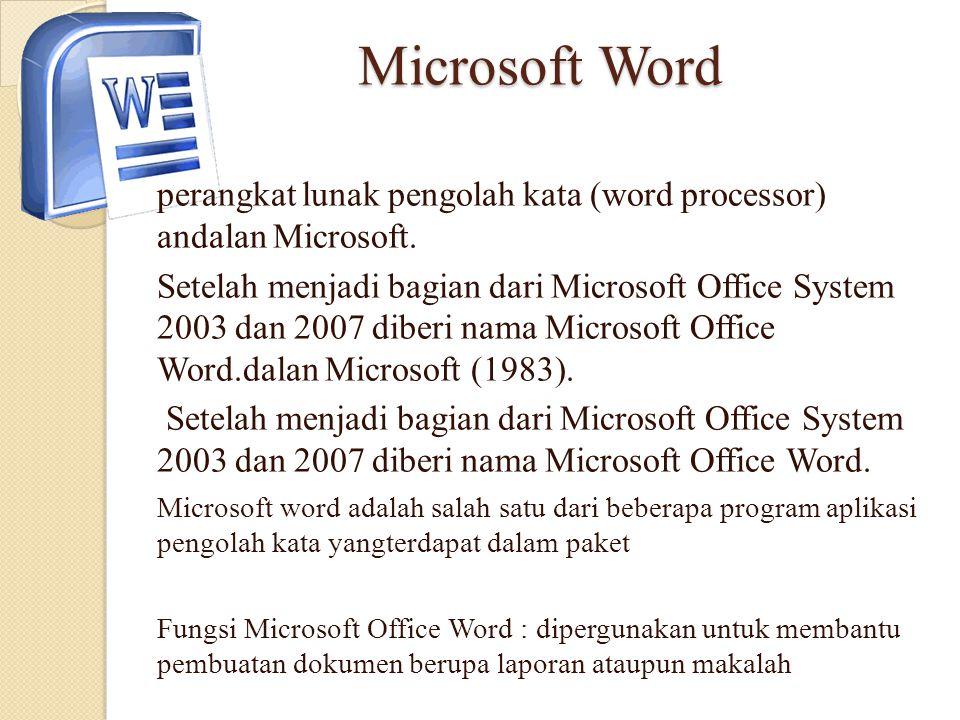 Microsoft Word perangkat lunak pengolah kata (word processor) andalan Microsoft. Setelah menjadi bagian dari Microsoft Office System 2003 dan 2007 dib