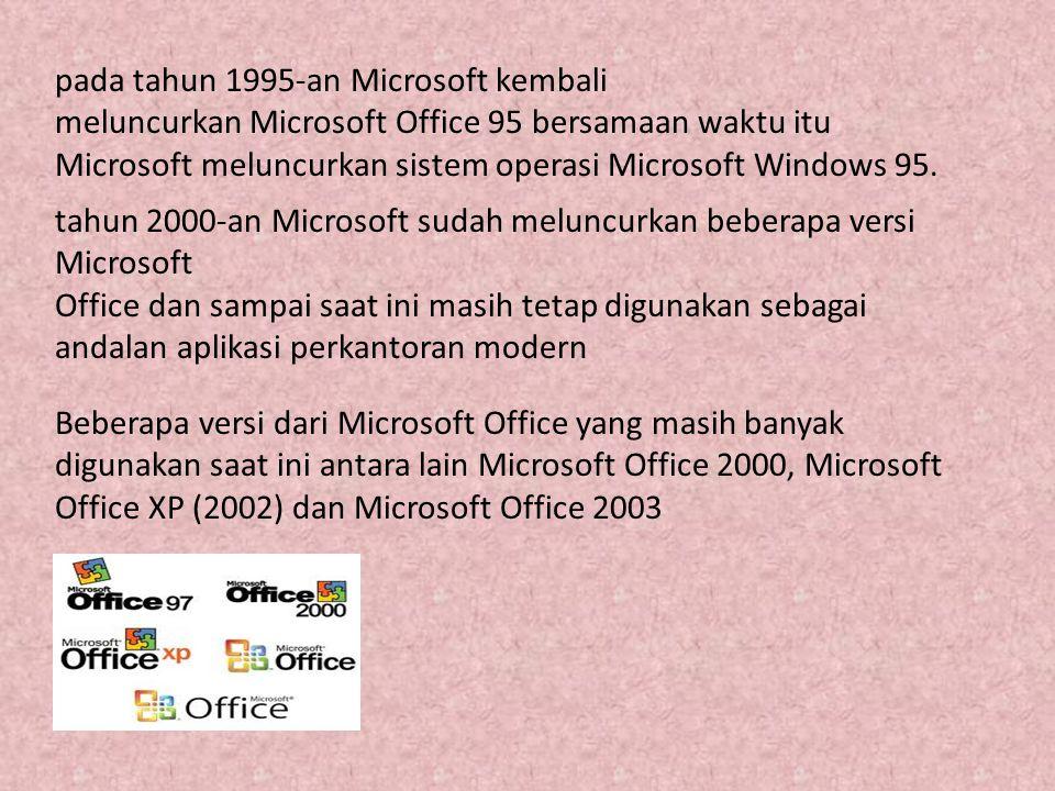 pada tahun 1995-an Microsoft kembali meluncurkan Microsoft Office 95 bersamaan waktu itu Microsoft meluncurkan sistem operasi Microsoft Windows 95. ta