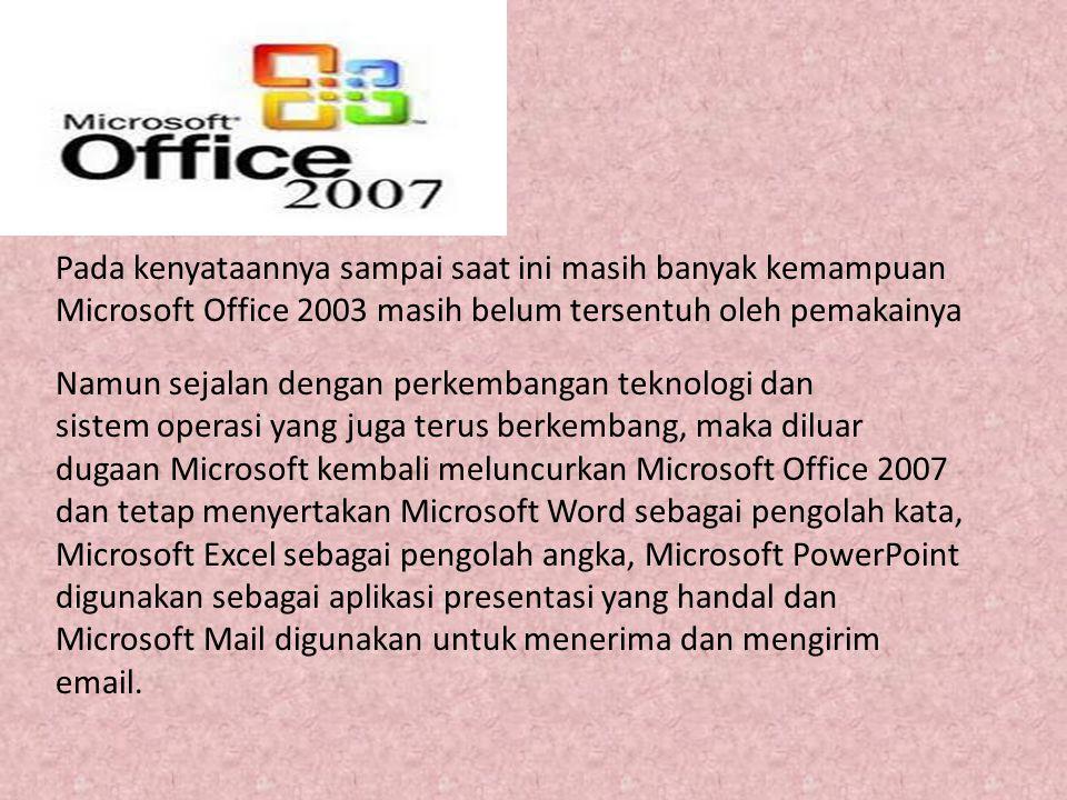 Pada kenyataannya sampai saat ini masih banyak kemampuan Microsoft Office 2003 masih belum tersentuh oleh pemakainya Namun sejalan dengan perkembangan