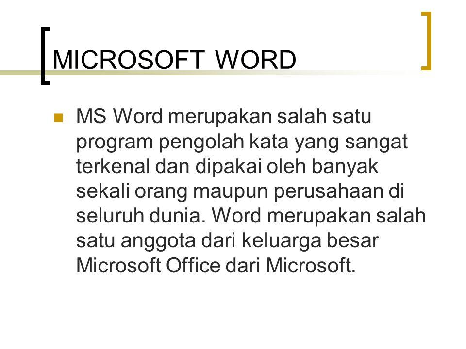 MICROSOFT WORD MS Word merupakan salah satu program pengolah kata yang sangat terkenal dan dipakai oleh banyak sekali orang maupun perusahaan di selur