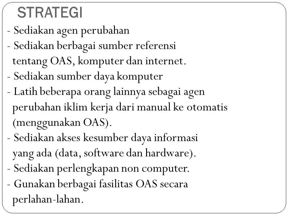 STRATEGI - Sediakan agen perubahan - Sediakan berbagai sumber referensi tentang OAS, komputer dan internet. - Sediakan sumber daya komputer - Latih be