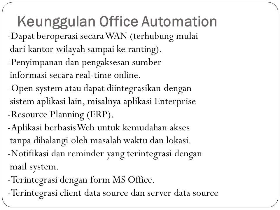 Keunggulan Office Automation -Dapat beroperasi secara WAN (terhubung mulai dari kantor wilayah sampai ke ranting). -Penyimpanan dan pengaksesan sumber