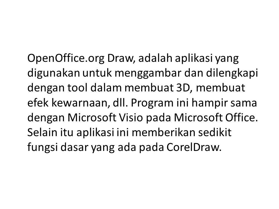 OpenOffice.org Draw, adalah aplikasi yang digunakan untuk menggambar dan dilengkapi dengan tool dalam membuat 3D, membuat efek kewarnaan, dll. Program