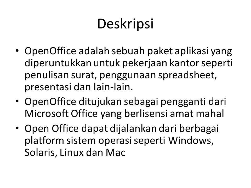 Deskripsi OpenOffice adalah sebuah paket aplikasi yang diperuntukkan untuk pekerjaan kantor seperti penulisan surat, penggunaan spreadsheet, presentas