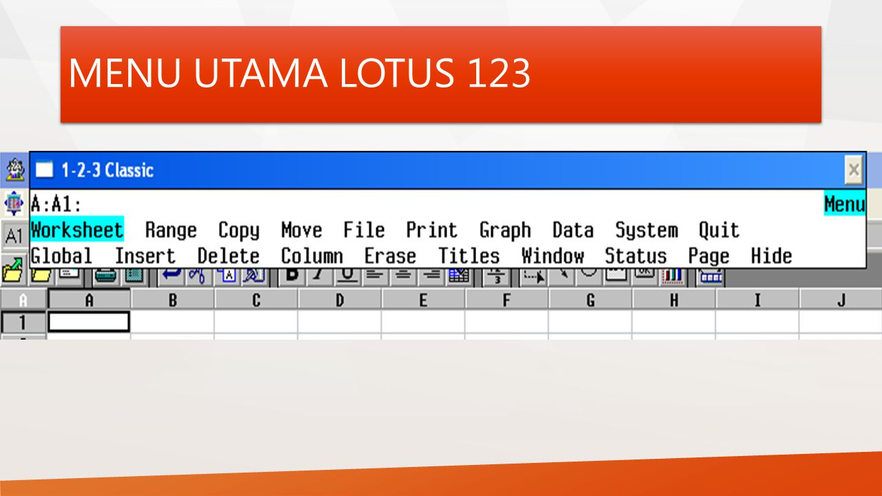 MENU UTAMA LOTUS 123