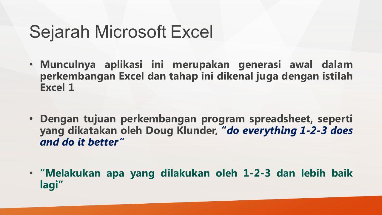Sejarah Microsoft Excel Munculnya aplikasi ini merupakan generasi awal dalam perkembangan Excel dan tahap ini dikenal juga dengan istilah Excel 1 Deng
