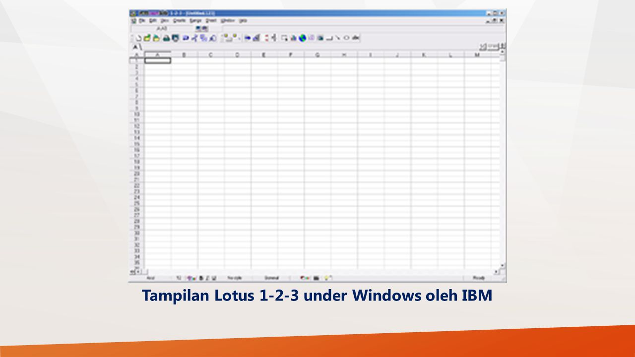 Tampilan Lotus 1-2-3 under Windows oleh IBM