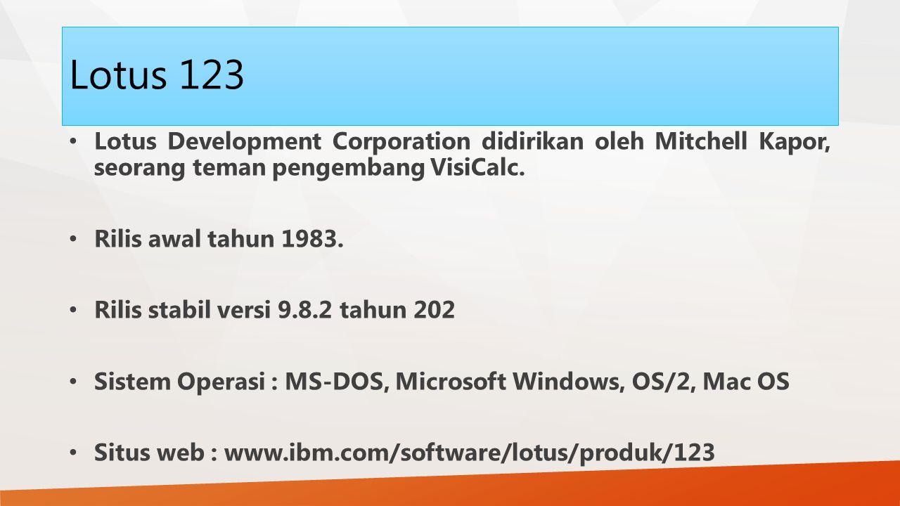 Lotus 123 Lotus Development Corporation didirikan oleh Mitchell Kapor, seorang teman pengembang VisiCalc. Rilis awal tahun 1983. Rilis stabil versi 9.
