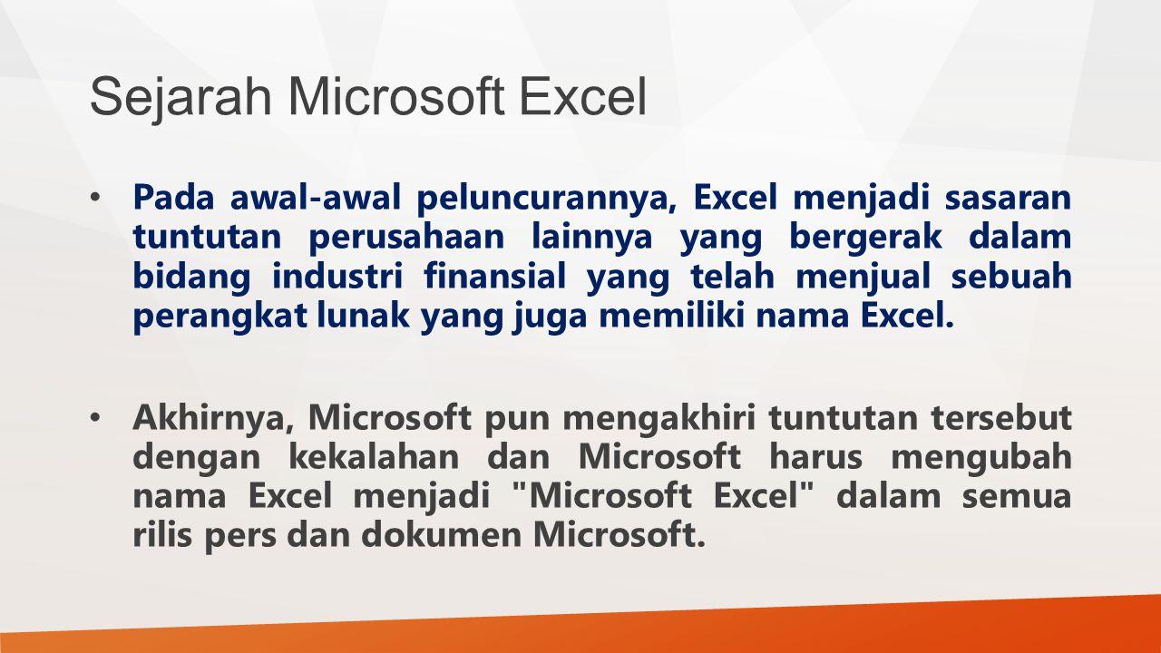 Sejarah Microsoft Excel Pada awal-awal peluncurannya, Excel menjadi sasaran tuntutan perusahaan lainnya yang bergerak dalam bidang industri finansial