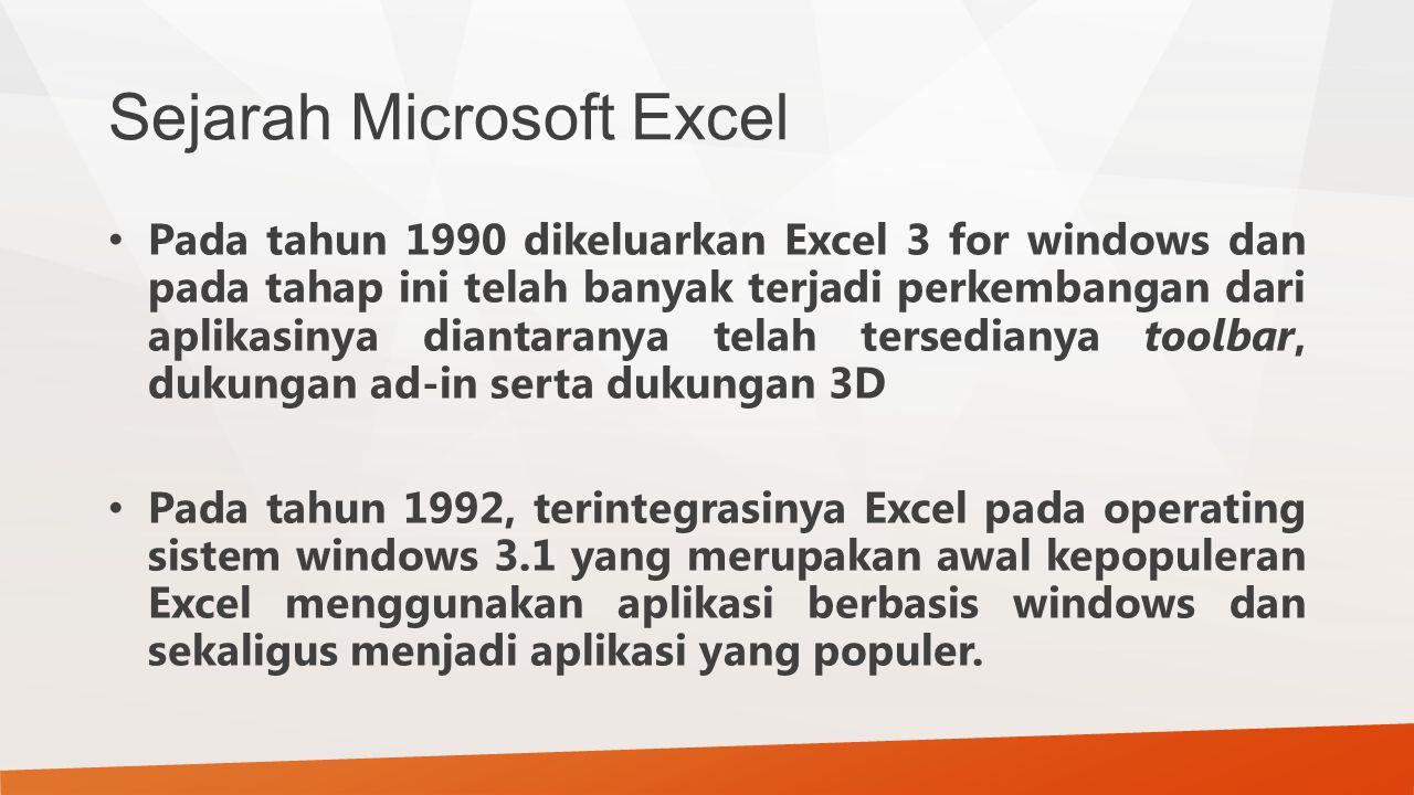 Sejarah Microsoft Excel Pada tahun 1990 dikeluarkan Excel 3 for windows dan pada tahap ini telah banyak terjadi perkembangan dari aplikasinya diantara