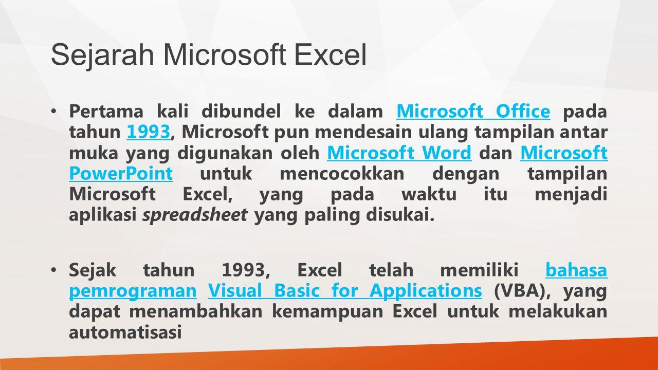 Sejarah Microsoft Excel Pertama kali dibundel ke dalam Microsoft Office pada tahun 1993, Microsoft pun mendesain ulang tampilan antar muka yang diguna