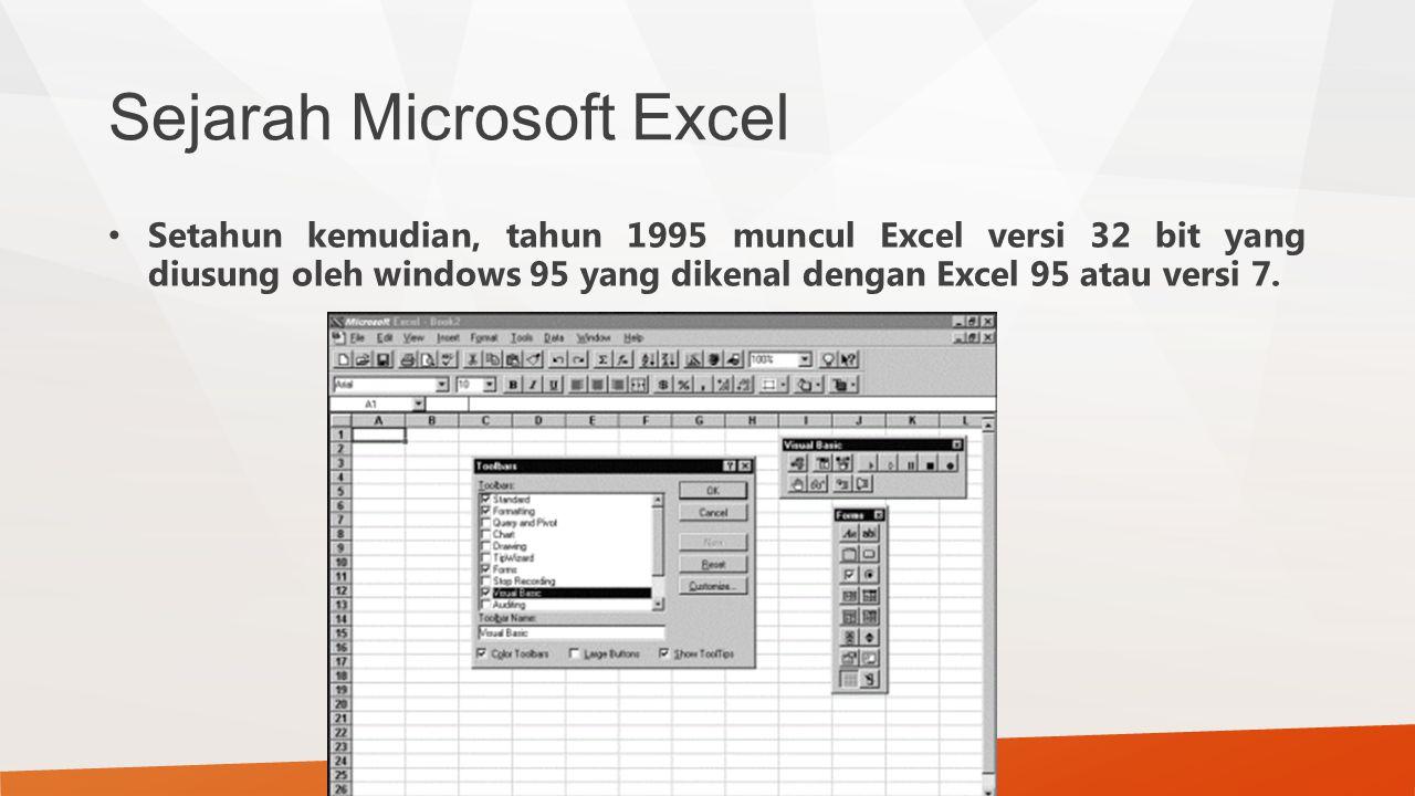 Sejarah Microsoft Excel Setahun kemudian, tahun 1995 muncul Excel versi 32 bit yang diusung oleh windows 95 yang dikenal dengan Excel 95 atau versi 7.