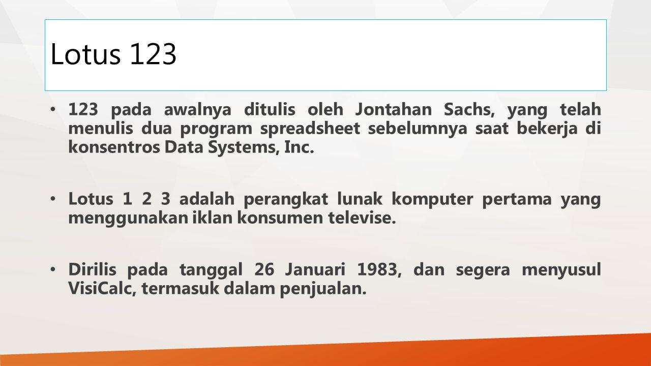 Lotus 123 123 pada awalnya ditulis oleh Jontahan Sachs, yang telah menulis dua program spreadsheet sebelumnya saat bekerja di konsentros Data Systems,