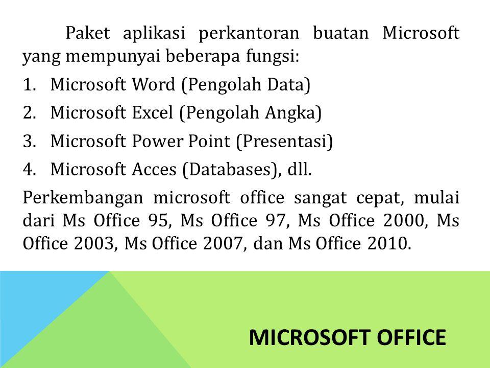MICROSOFT OFFICE Paket aplikasi perkantoran buatan Microsoft yang mempunyai beberapa fungsi: 1.Microsoft Word (Pengolah Data) 2.Microsoft Excel (Pengo