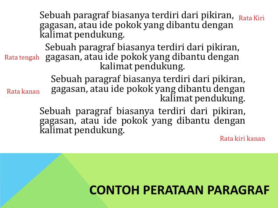 CONTOH PERATAAN PARAGRAF Sebuah paragraf biasanya terdiri dari pikiran, gagasan, atau ide pokok yang dibantu dengan kalimat pendukung. Rata Kiri Rata