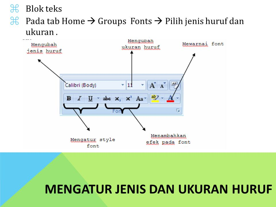 MENGATUR JENIS DAN UKURAN HURUF ⌘Blok teks ⌘Pada tab Home  Groups Fonts  Pilih jenis huruf dan ukuran.