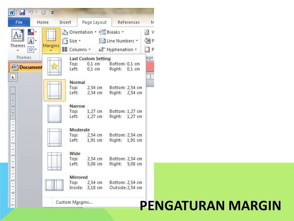 PENGATURAN MARGIN