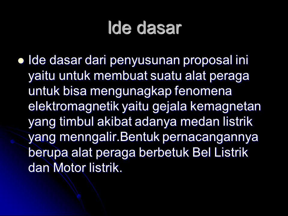 Ide dasar Ide dasar dari penyusunan proposal ini yaitu untuk membuat suatu alat peraga untuk bisa mengunagkap fenomena elektromagnetik yaitu gejala ke