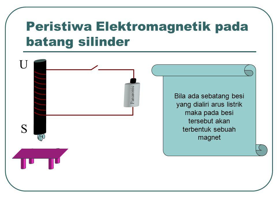 Peristiwa Elektromagnetik pada batang silinder U S Panasonic Bila ada sebatang besi yang dialiri arus listrik maka pada besi tersebut akan terbentuk sebuah magnet