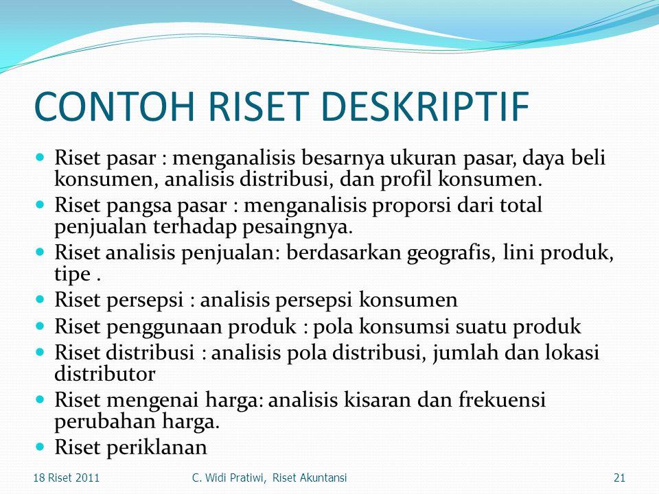 CONTOH RISET DESKRIPTIF Riset pasar : menganalisis besarnya ukuran pasar, daya beli konsumen, analisis distribusi, dan profil konsumen. Riset pangsa p