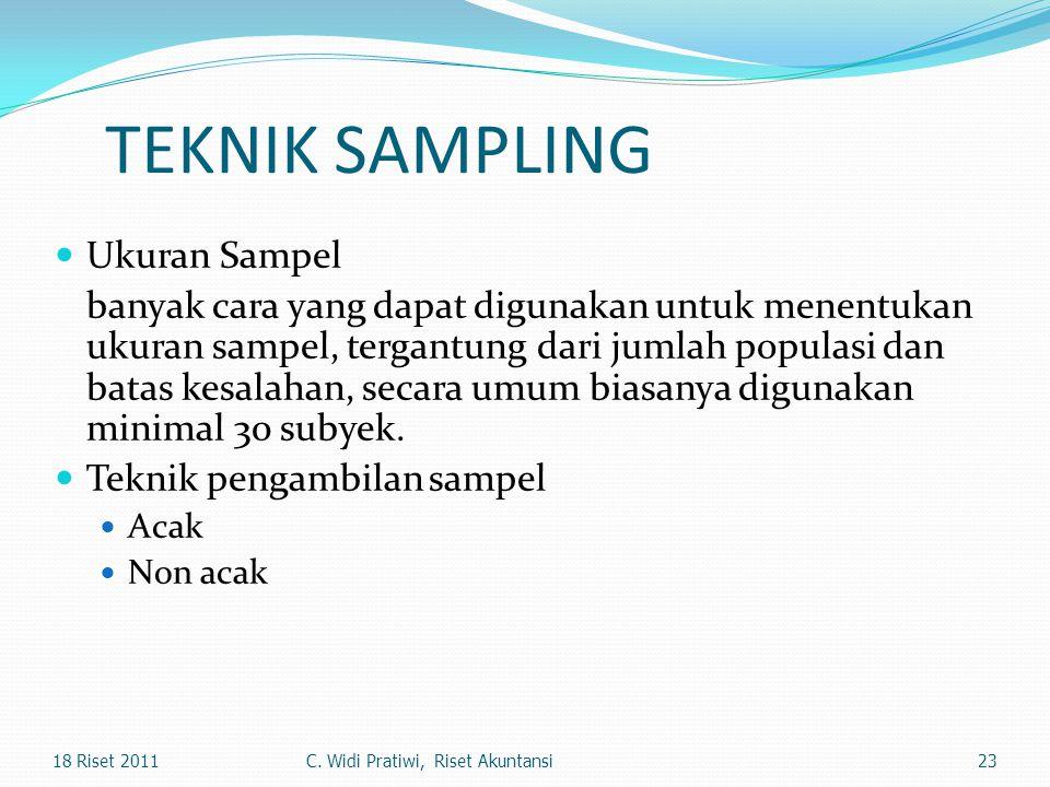 TEKNIK SAMPLING Ukuran Sampel banyak cara yang dapat digunakan untuk menentukan ukuran sampel, tergantung dari jumlah populasi dan batas kesalahan, se