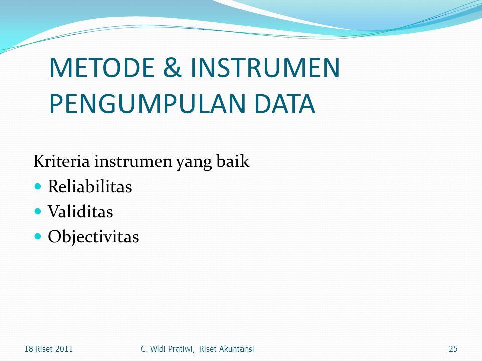 METODE & INSTRUMEN PENGUMPULAN DATA Kriteria instrumen yang baik Reliabilitas Validitas Objectivitas 2518 Riset 2011C. Widi Pratiwi, Riset Akuntansi