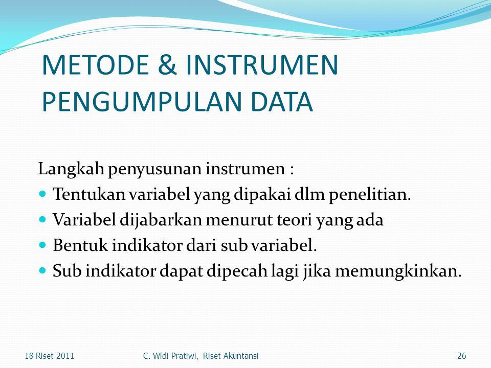 METODE & INSTRUMEN PENGUMPULAN DATA Langkah penyusunan instrumen : Tentukan variabel yang dipakai dlm penelitian. Variabel dijabarkan menurut teori ya