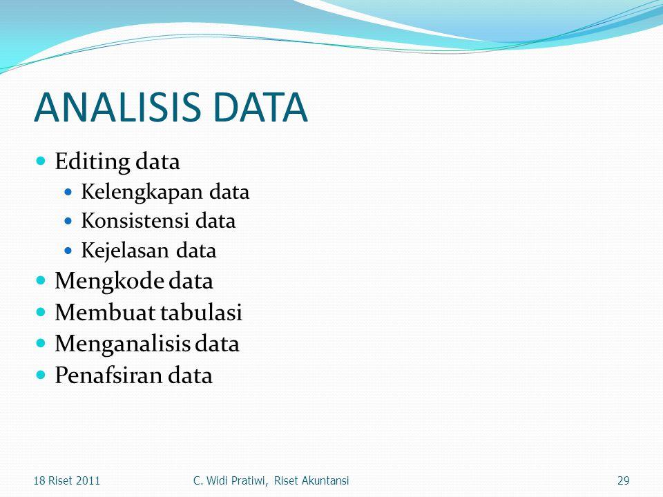 ANALISIS DATA Editing data Kelengkapan data Konsistensi data Kejelasan data Mengkode data Membuat tabulasi Menganalisis data Penafsiran data 2918 Rise